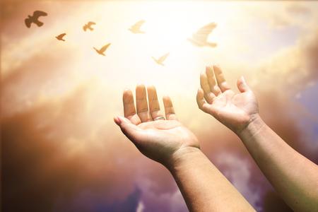Menschliche Hände offene Handfläche nach oben Anbetung. Eucharistie Therapie Gott segnen helfende Repent katholischen Ostern Fastenzeit Geist beten. Christian Konzept Hintergrund. Standard-Bild - 77956973