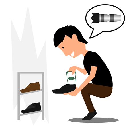 Mann verstecken Geld Frau in Schuhen. verkleiden Geld Vektor-Illustration.