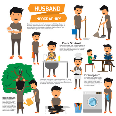 kitchen cleaning: housekeeper or house husband work infographics. detail of husband working with home and dribble. Illustration