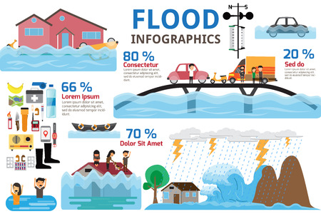 Flood disaster infographics. Brochure elements of flood disaster and emergency accessories. vector illustration.