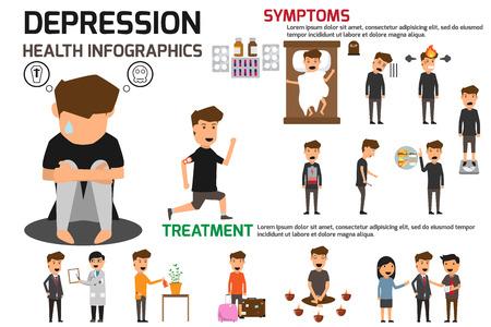 Infographic Konzept der Depressionszeichen und -beschwerden. Große depressive Störungvektorillustration.