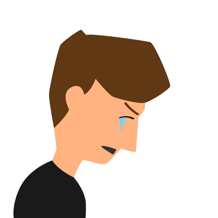 Crying man standing in room for depression or negative emotions concept. Cartoon flat style. vector illustration. Illustration
