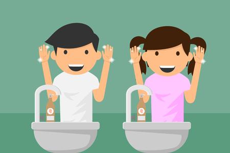 Kinderen handen wassen. Vector illustratie.
