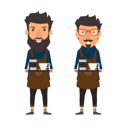 Hipster stijl. Barista die een koffie op een dienblad in koffiewinkel houdt. Cartoon karakter vectorillustratie.
