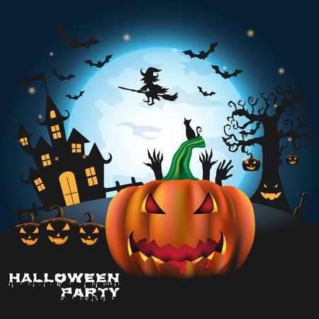 Happy Halloween background with pumpkin and zombies on the full moon backdrop. Trick or Treat Halloween carved pumpkins cartoon Vector illustration.