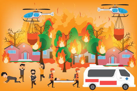 Forest Fire infographics. burning forest trees in fire flames - natural disaster concept. Concept of Wildfire with people manage to survive. Vector Illustration. Illustration