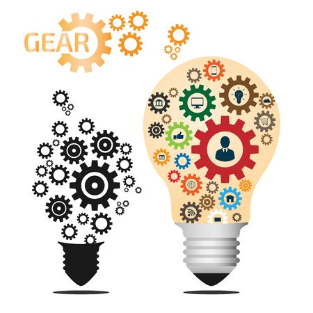 thinking machines: Light Bulb and gear with Business Icons Pattern. Business Big Idea Creative Concept Abstract Infographics Template. Business Start vector illustration.