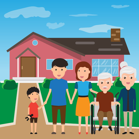 Happy Family standing outside new home. People moving house. grandmother grandfather mother father and their children. cartoon vector illustration.