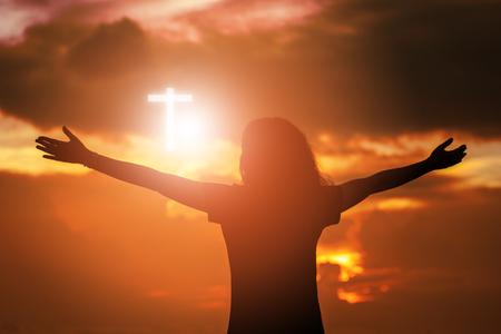 Human raising hands. Worship christian concept background