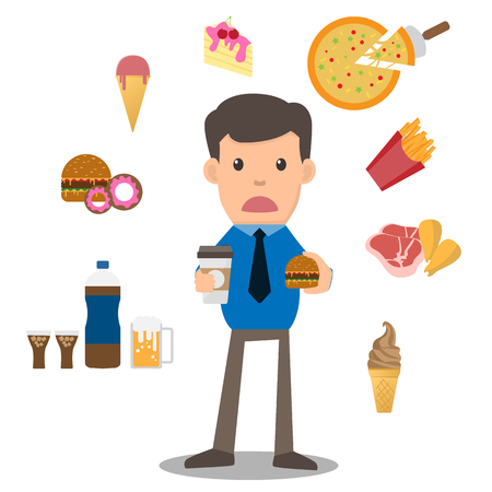 Business man unhappy hungry bearded man eating junk food around him such as junk food on white background. cartoon vector illustration. Vettoriali