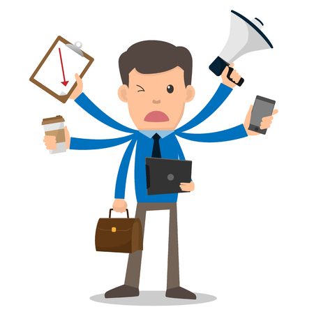 Businessman unhappy with multitasking and multi skill. cartoon character vector illustration. marketing, coffee, phone, megaphone, clipboard. Illustration