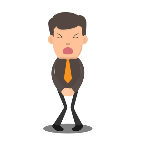 Businessman has to pee very urgently. business cartoon character vector illustration. Vettoriali