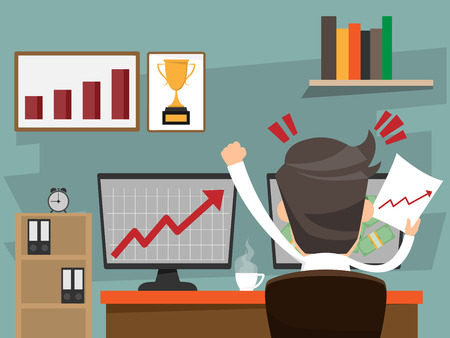 Successful businessman happy sitting on desk and look growth graph on computer pc. business success concept cartoon character vector illustration. Vettoriali