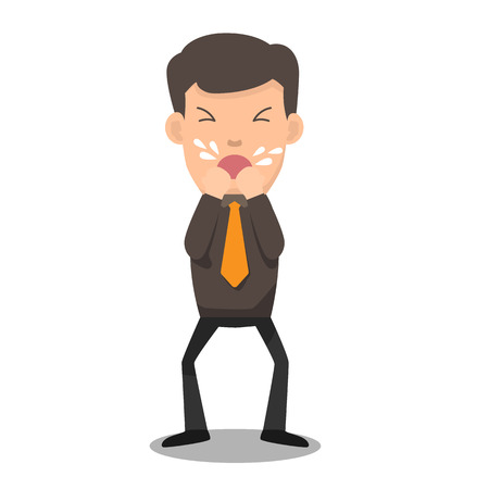 Business man coughing he has sick and fever. vector illustration. Illustration