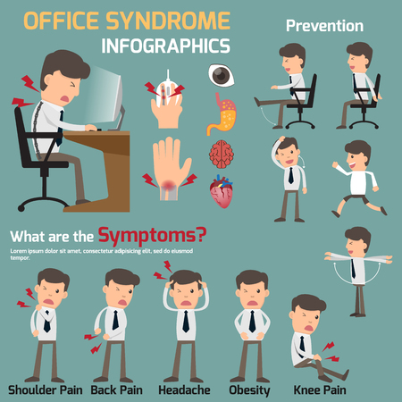 Business man have office syndrome symptoms and effect to organs infographics. Headache. Hand and Neck and Back pain. Stomach Ache, Inflammation medical concept. health care vector illustration.