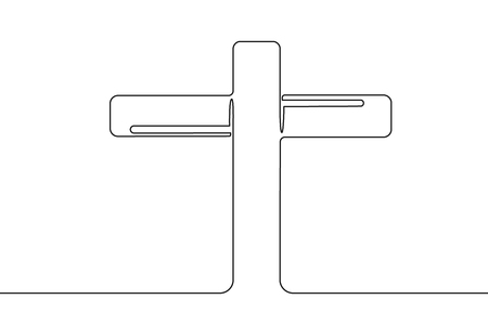 Continuous line art drawing of christian worship cross.