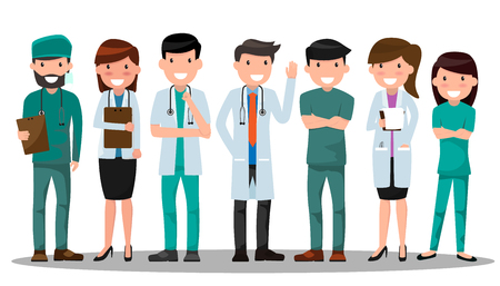 Medical doctors and nurses  in various pose for advertising.  イラスト・ベクター素材
