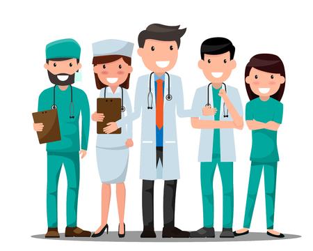 Lekarze i pielęgniarki w różnych pozach do reklamy.