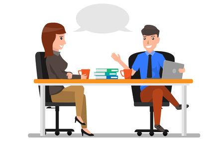 Gente di affari che si siede nell'ufficio e nell'illustrazione parlante.