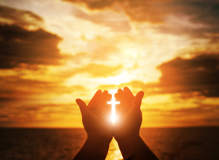 Christian man with open hands worship christian. Eucharist Therapy Bless God Helping Repent Catholic Easter Lent Mind Pray. Christian concept background. 스톡 콘텐츠