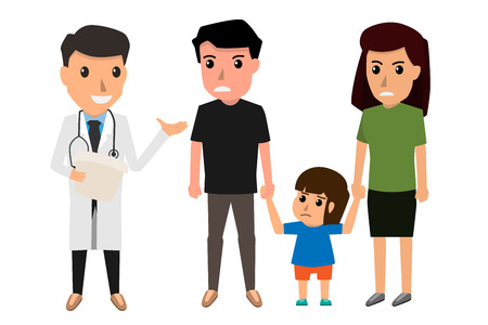 Family to see Doctor in hospital, infirmary, clinic. Character professional physician on workplace. Mother and her son with doctor. health care cartoon character vector illustration.