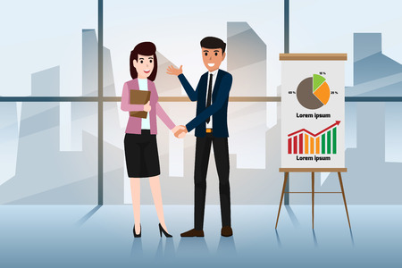Business men and women are shaking hands to congratulate them for being a business partner. Successful business negotiations. Closed deal handshake vector illustration. Stock Illustratie