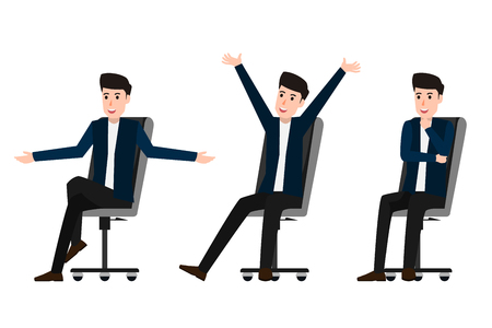 Collection of businessman character sitting on chair with happy and working on isolated. cartoon character vector illustration.