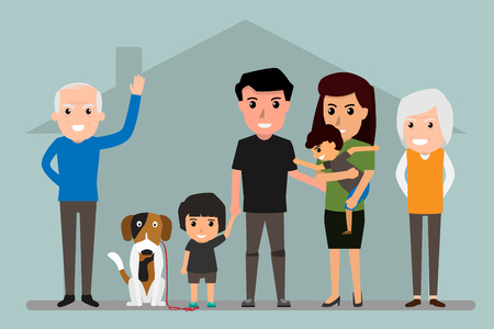 Big family happiness. Happy Family include Father, mother, grandfather, grandmother, children and pet. Vector illustration.
