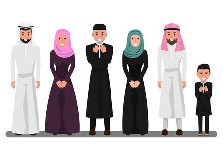 Arabische Familienfiguren in verschiedenen Posen. Happy Saudi, Emirates Muslim Senior Mann, Frau, Eltern, Vater, Menschen in Nationaltracht und Hijab. Charakter der Vektorillustration des muslimischen Religionskonzepts.