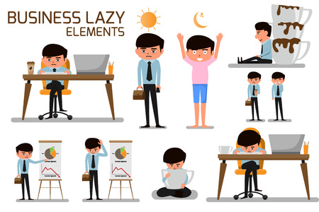 Business man lazy and need more of coffee and addiction. business cartoon character lazy and tired. vector illustration. Stock Illustratie