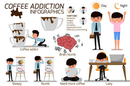 Suffer from severe dysentery. Coffee addiction elements infographics. business man need more coffee, vector illustration. Stock Illustratie