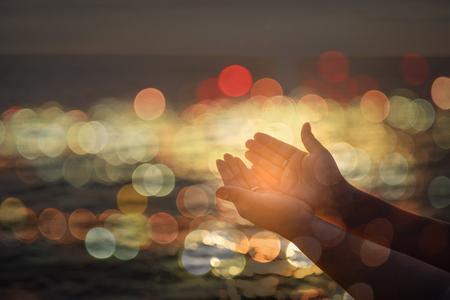 Muslim People Pray anti Healing Disaster for Hope Middle East Peace Prayer. hands Muslim worship and prayer.