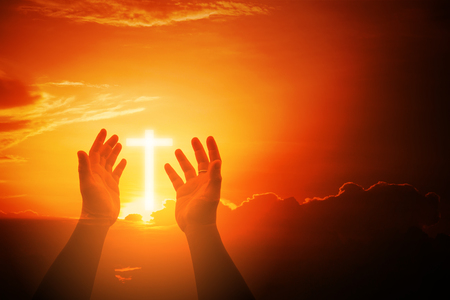 Human hands open palm up worship. Eucharist Therapy Bless God Helping Repent Catholic Easter Lent Mind Pray. Christian Religion concept background. fighting and victory for god 免版税图像
