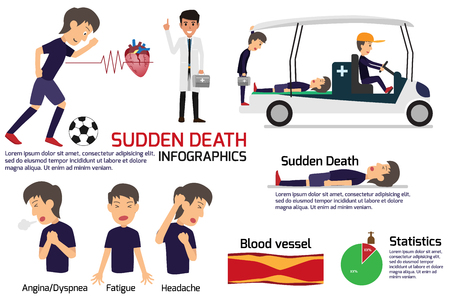 soccer player having a sudden death attack infographics, medical and health concept in heart attack or sudden death, stroke, vector illustration. Banco de Imagens - 126951067
