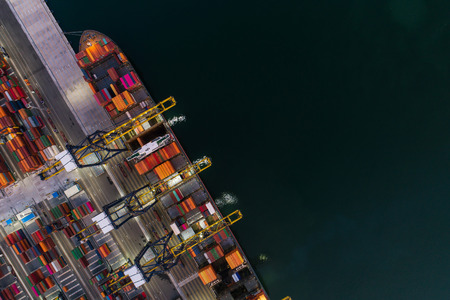 Aerial view sea port Container cargo loading ship in import export business logistic. Freight transportation. shipping business logistic. Trade Port and Shipping cargo to harbor.
