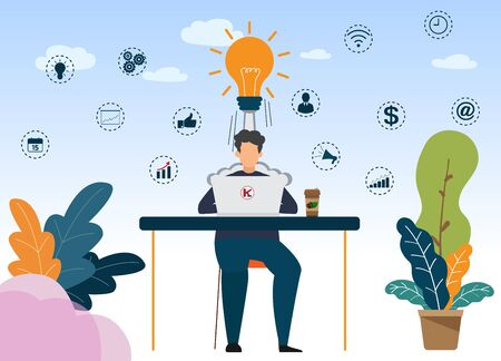 Vector creative illustration of business graphic, Business character working in office creating new business idea. Idea concept. icons Flat vector illustration.