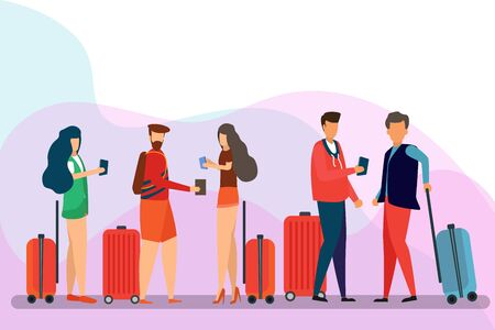 Group of Traveler People, cartoon character.  Man, woman, friends with luggage on an isolated background. Travel and Tourism Concept Vector Illustration Stock Illustratie