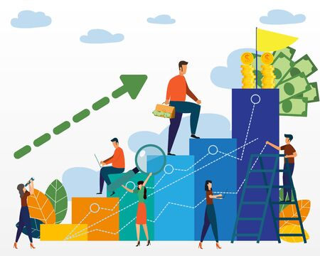 Company is engaged in the joint construction of column graphs, the rise of the career to success, business analysis. Business teamwork and creative growing graphs for money success. Vector illustration