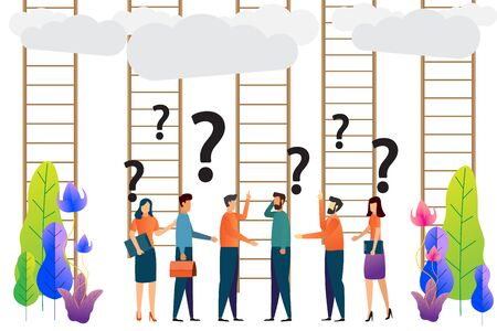 confused, Ladder to success. Business choices concept. business groups are confused. character vector illustration.