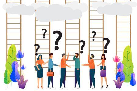 verwirrt, Leiter zum Erfolg. Geschäftsentscheidungen Konzept. Unternehmensgruppen sind verwirrt. Charakter-Vektor-Illustration.