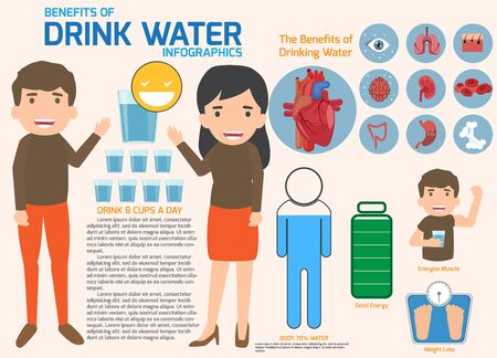 People drinking water and benefits of drink water infographics vector illustration. Characters health and medical concept flat design.