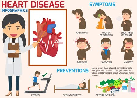 Infografica. Sintomi di malattie cardiache e dolore acuto possibile infarto con prevenzione. Illustrazioni vettoriali.