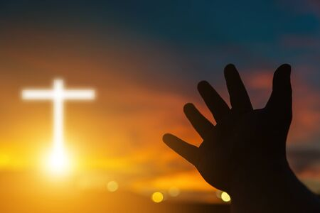 Human hands open palm up worship. Eucharist Therapy Bless God Helping Repent Catholic Easter Lent Mind Pray. Christian Religion concept background. Fighting and victory for god. people prayer at sunset