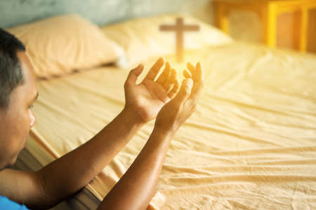 Christian hands raised to worship for bless God with good fortune in his bedroom. Eucharist Therapy Bless God Helping Repent Catholic Easter Lent Mind Pray. fighting and victory for god. Religion .