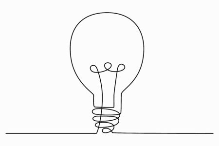 Continuous one line art drawing of idea (light bulb). Concept of idea emergence. Vector illustration.