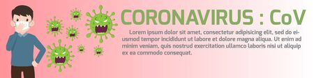 Coronavirus : CoV elements banner, human are showing coronavirus symptoms and risk factors. health and medical. Novel Coronavirus 2019. Pneumonia disease. vector illustration.