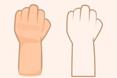Close up of hands gesturing. Business Hands fist vector illustration. Use for advertising and presentation. line fist hands drawing. 向量圖像