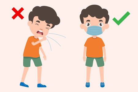 Children behave correctly when coughing by using medical mask and children practice incorrectly without using medical mask. Health and medicals concept cute children cartoon vector illustration.