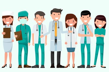 Health and Medical concept illustration. Doctor and nurse characters. Full length doctors wearing uniform, Team Protect Coronavirus (CoVID-19), Checking Health. holding clipboard. Patient treatment.
