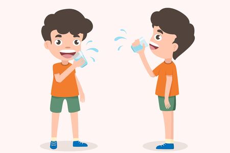 Cute boy holding glass of kid drinking water. Smiling standing boy kids enjoying drinking water holding glasses. Emotionally be smile.  health and medical Vector Illustration on White background.